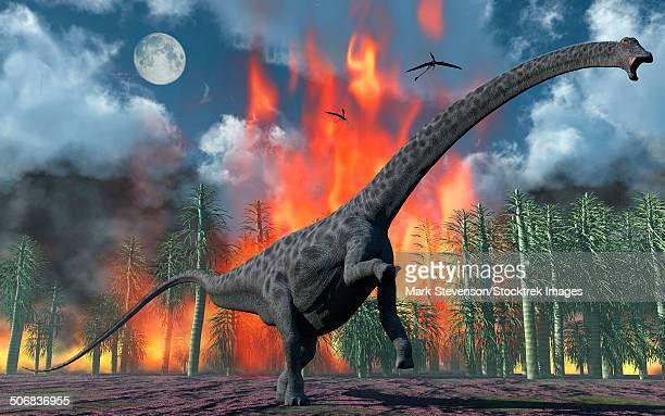 A Diplodocus sauropod dinosaur fleeing from a forest fire.