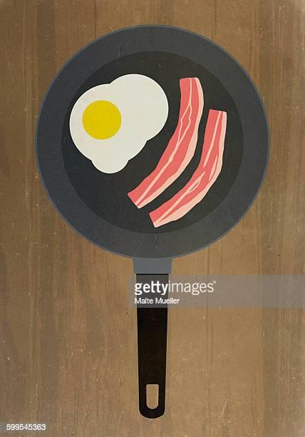 ilustrações, clipart, desenhos animados e ícones de directly above shot of bacon and egg in frying pan - frito