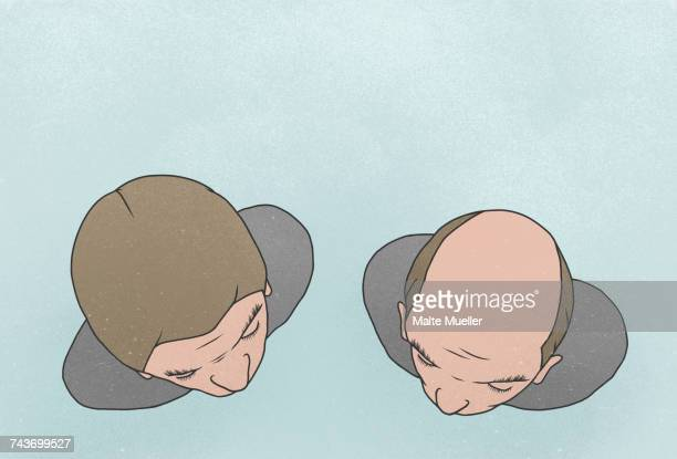 directly above shot of man with friend against blue background - friendship stock illustrations