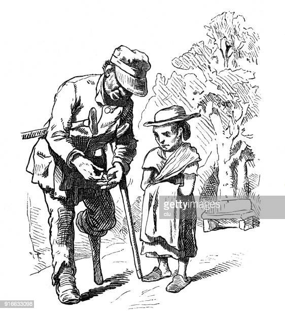 disabled and blind person talks to a child - 1877 stock illustrations, clip art, cartoons, & icons