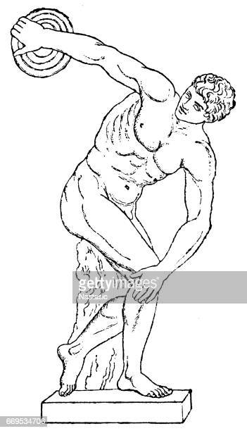 discobolus - greek culture stock illustrations, clip art, cartoons, & icons