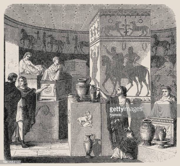 discovered tomb with its treasures ,etruscan tomb, volterra, visual reconstruction - etruscan stock illustrations