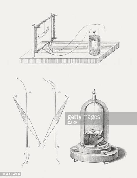illustrazioni stock, clip art, cartoni animati e icone di tendenza di scoperta dell'elettromagnetismo di hans christian ørsted (1777-1851) nel 1820 - elettromagnetismo