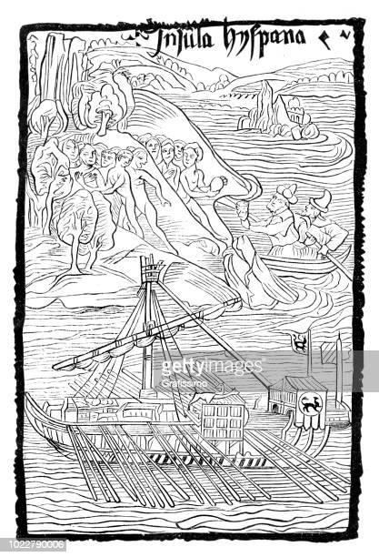 ilustraciones, imágenes clip art, dibujos animados e iconos de stock de descubrimiento de la isla de santo domingo en república dominicana 1498 - cristobal colon