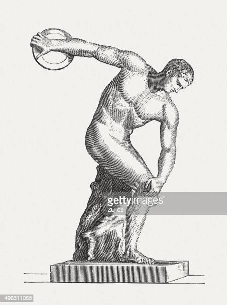 Discus thrower, ancient sculpture, wood engraving, published  in 1881