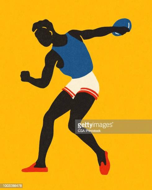 ilustraciones, imágenes clip art, dibujos animados e iconos de stock de lanzador de disco - pista de atletismo