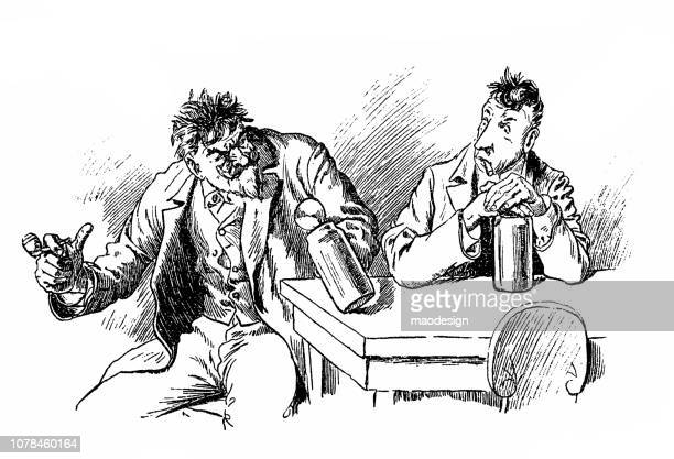 discussion at the bar at a mug of beer - 1896 - 1896 stock illustrations, clip art, cartoons, & icons
