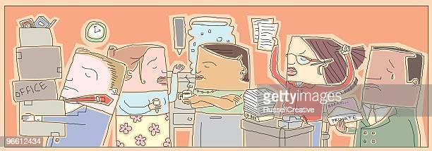 ilustraciones, imágenes clip art, dibujos animados e iconos de stock de disgruntled los empleados - tirarse de los pelos