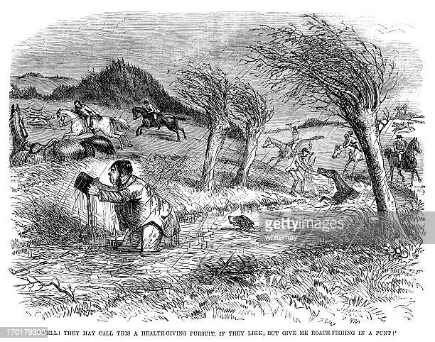 disgruntled huntsman in a river (punch 1855) - pack of dogs stock illustrations