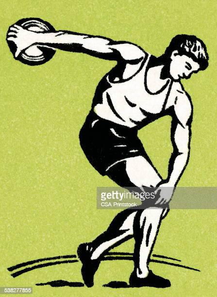 disk throw - discus stock illustrations, clip art, cartoons, & icons