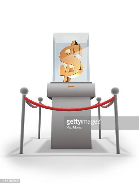 ilustraciones, imágenes clip art, dibujos animados e iconos de stock de a display of a dollar sign in a case - display cabinet