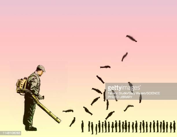 disposable workforce, conceptual illustration - leaf blower stock illustrations