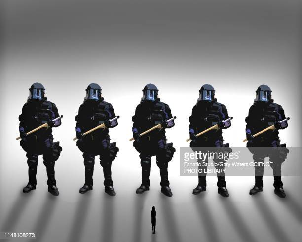 disproportionate police force, conceptual illustration - army stock illustrations