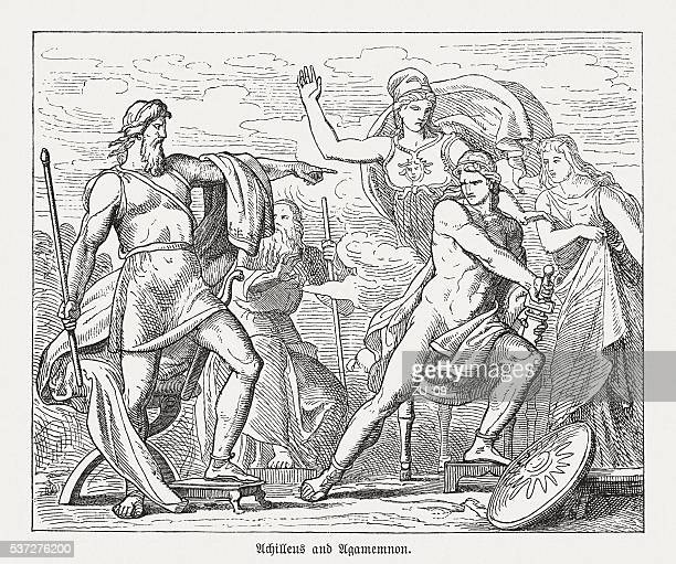 dispute between achilles and agamemnon, greek mythology, published in 1880 - trojan war stock illustrations, clip art, cartoons, & icons