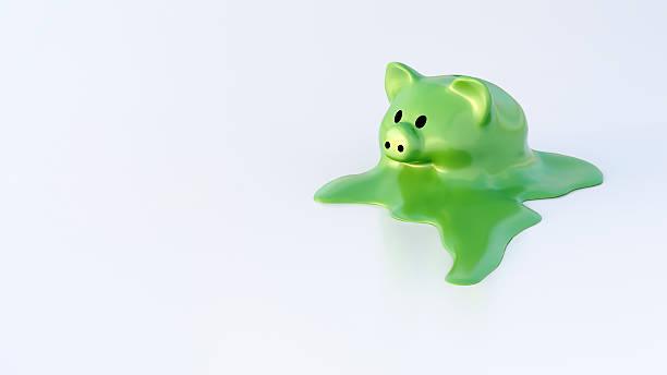 dissolving piggy bank - melting stock illustrations
