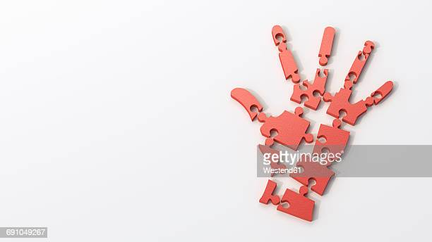 dissolving red puzzle hand - dissolving stock illustrations, clip art, cartoons, & icons