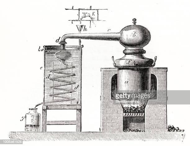 distillery schematic - whiskey stock illustrations
