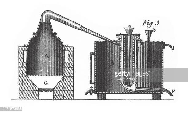 distilling apparatus, chemical apparatus and equipment engraving antique illustration, published 1851 - distillation stock illustrations, clip art, cartoons, & icons