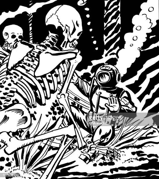 Diver and Two Skeletons