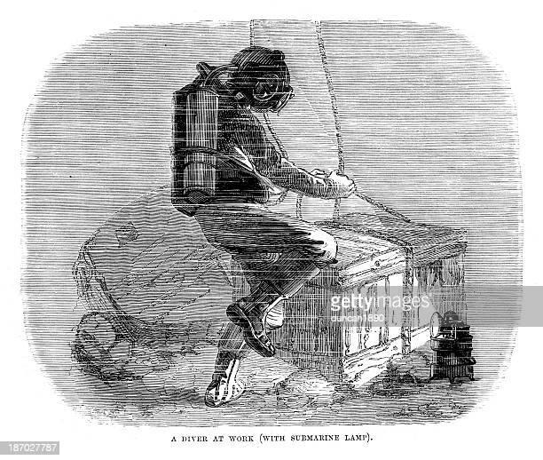 ilustraciones, imágenes clip art, dibujos animados e iconos de stock de clavadista en el trabajo - fondo marino
