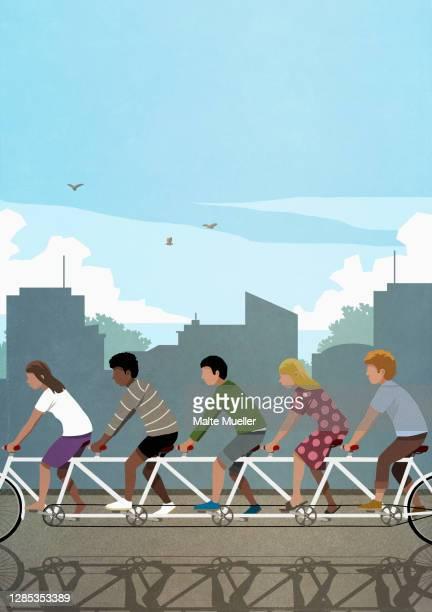 stockillustraties, clipart, cartoons en iconen met diverse friends riding tandem bicycle in city - friendly match