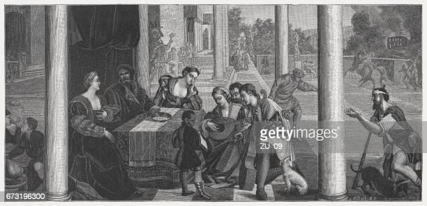 dives and lazarus, painted (1540/50) by bonifacio veronese, venice, italy - high renaissance stock illustrations