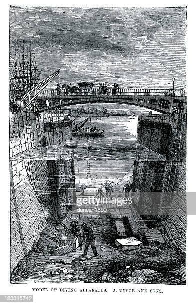 ilustraciones, imágenes clip art, dibujos animados e iconos de stock de aparato de buceo - revolucion industrial