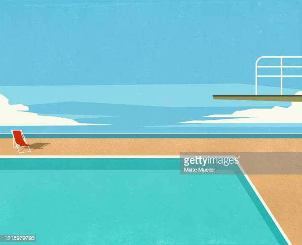 diving board over swimming pool with ocean view - silence stock illustrations