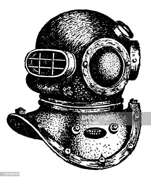 diving helmet - scuba mask stock illustrations