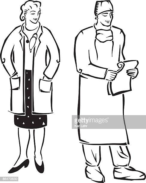 a doctor and a surgeon - operating gown stock illustrations, clip art, cartoons, & icons