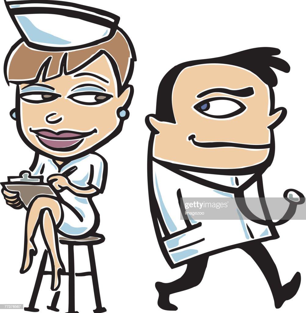 Doctor and nurse : stock illustration
