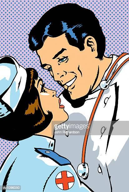 ilustraciones, imágenes clip art, dibujos animados e iconos de stock de doctor and nurse in love - enfermera