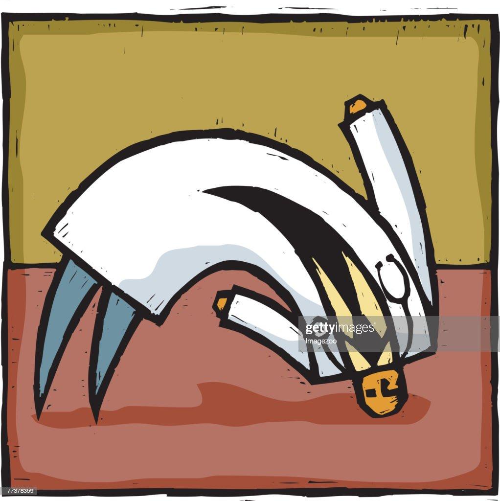doctor bending over backwards : Illustration