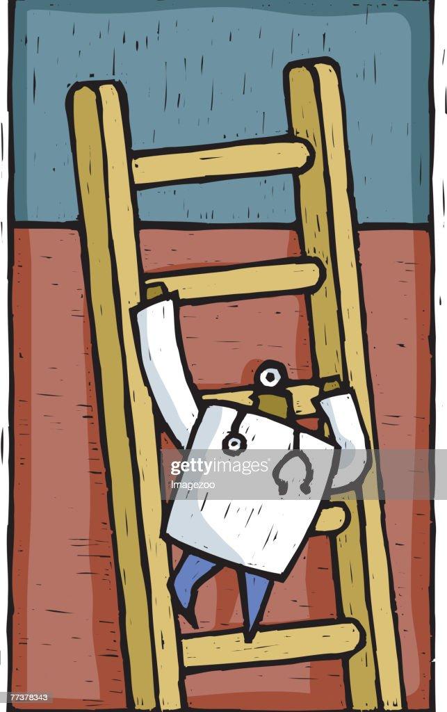 doctor climbing up a ladder : Illustration