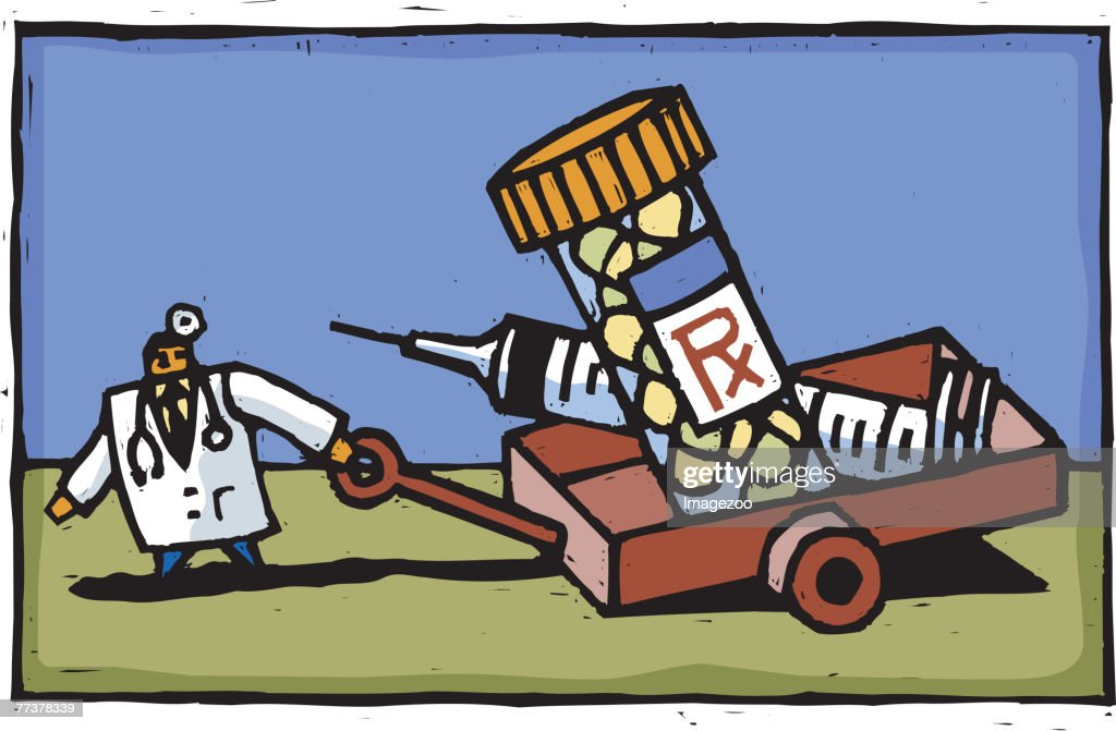 doctor dragging a wagon full of medication and a syringe : Illustration
