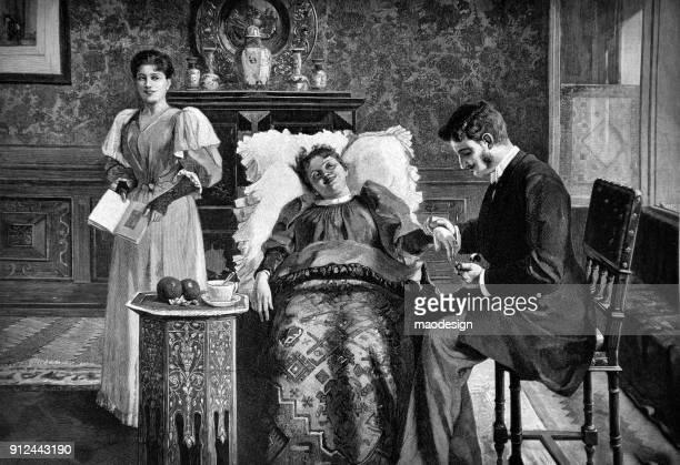 家庭訪問 - 1896 中に患者の健康状態を診察します。 - 19世紀風点のイラスト素材/クリップアート素材/マンガ素材/アイコン素材