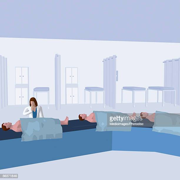 doctor examining patients on a conveyor belt - lying on back stock illustrations, clip art, cartoons, & icons