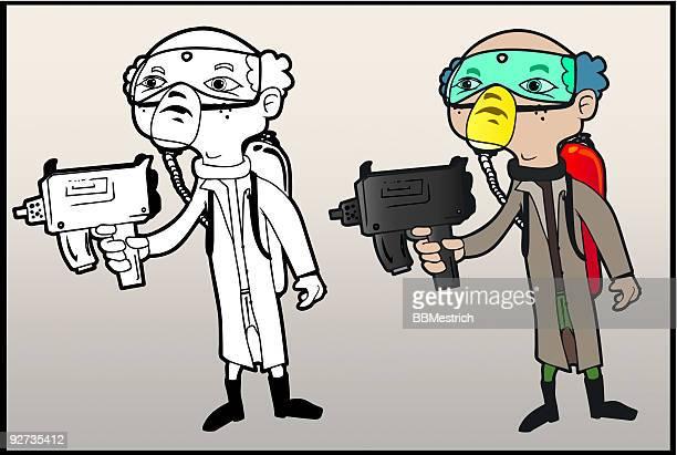 ilustraciones, imágenes clip art, dibujos animados e iconos de stock de médico de pistolas - submachine gun