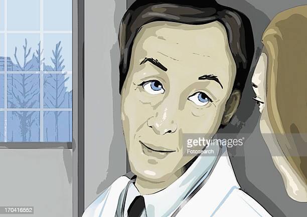 Doctor looking at woman at close range