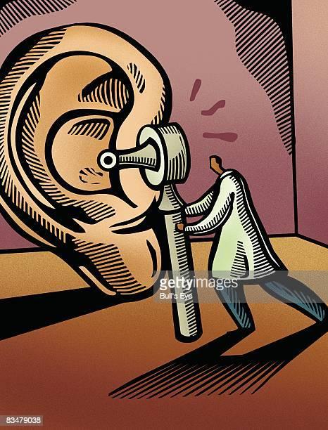 ilustraciones, imágenes clip art, dibujos animados e iconos de stock de doctor looking through an otoscope at a giant ear - oreja humana