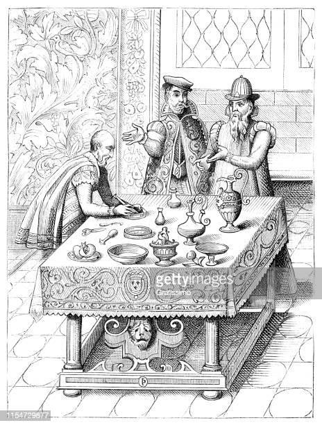 illustrazioni stock, clip art, cartoni animati e icone di tendenza di medico che prepara la medicina per il re 15 ° secolo parigi francia - farmacia