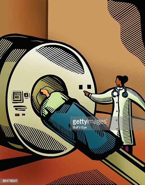 doctor putting a patient through a ct scanner - lying on back stock illustrations, clip art, cartoons, & icons