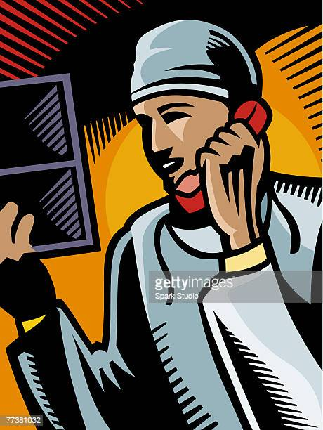 a doctor talking on a phone - operating gown stock illustrations, clip art, cartoons, & icons