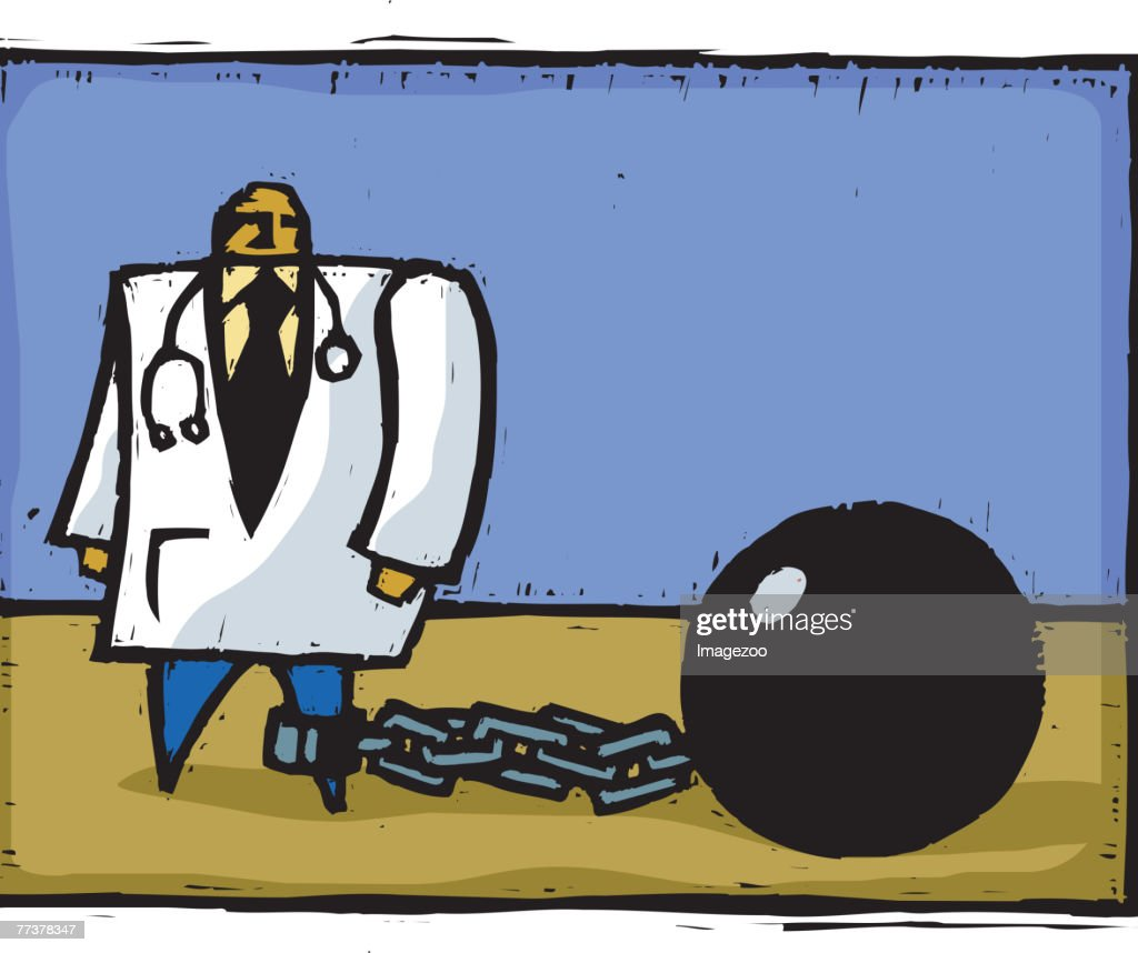 doctor tied to ball and chain : Illustration