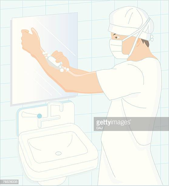Doctor washing hands for surgery, Illustration