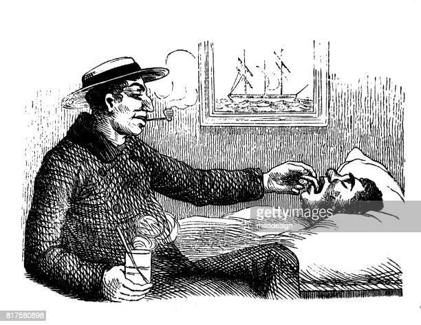 stockillustraties, clipart, cartoons en iconen met arts met pijp onderzoeken man in bed op tong - 1867 - arts culture and entertainment