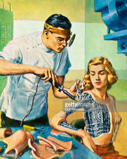 Doctor Working on Robot Woman