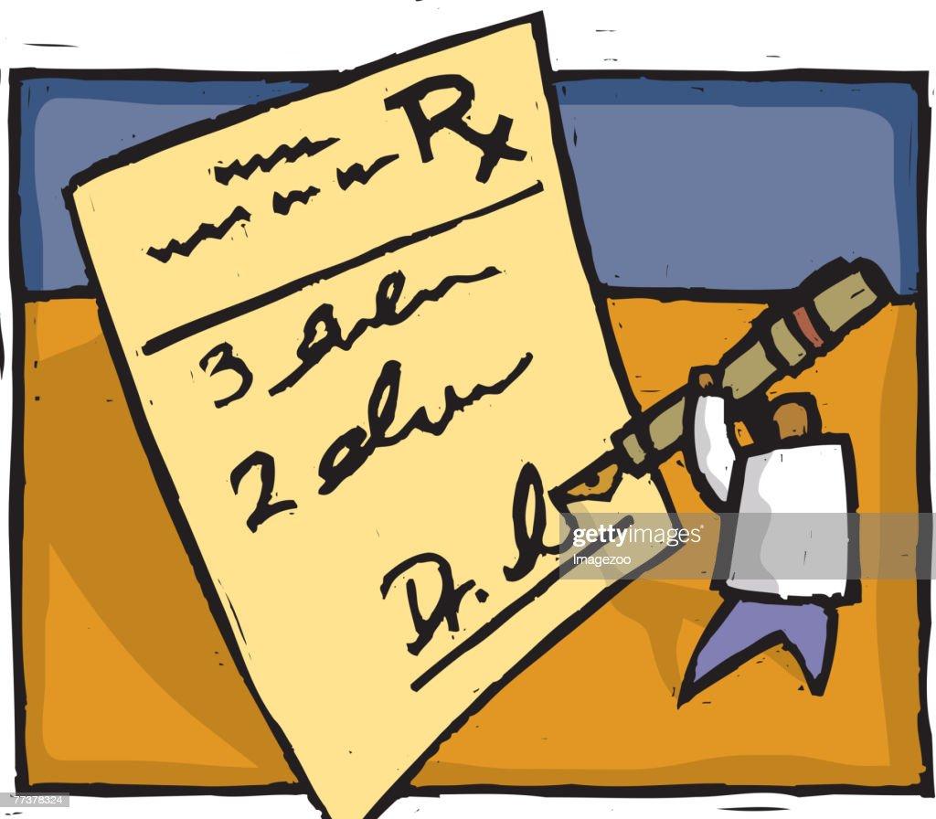 doctor writing a prescription : Illustration