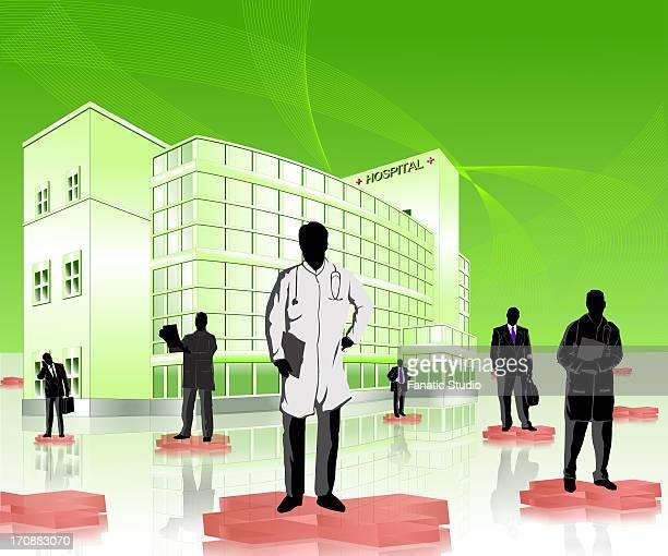 Doctors and medical sales representatives in a hospital