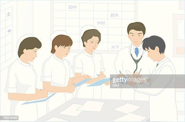 doctors and nurses having meeting, illustration - ナースステーション点のイラスト素材/クリップアート素材/マンガ素材/アイコン素材